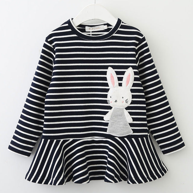 Long Sleeve Striped Bunny Rabbit Applique