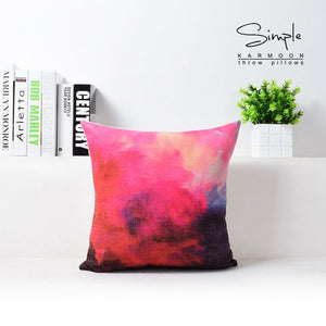 Colorful Watercolor Abstract Linen Throw Pillow Case