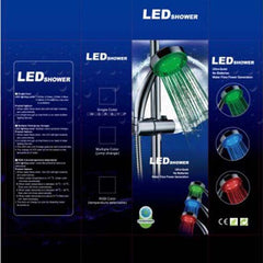 Led shower head self-discoloring temperature control