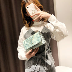 Stone pattern marble multi-layer diagonal small square bag