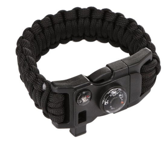Multipurpose Survival Bracelet - Compass, Flint, Whistle & Rope