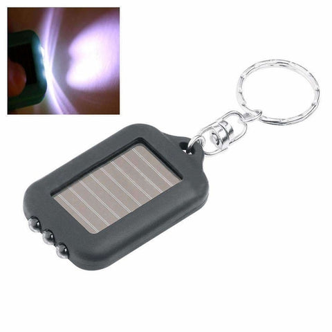 Mini Solar Power Recharge 3 LED Light Torch Key Chain - Black - SKIPPERMYBOAT