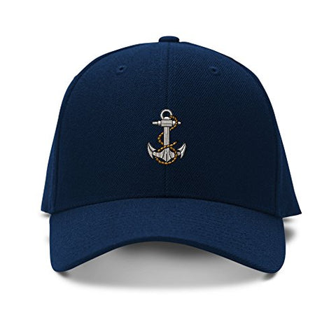 Anchor Nautical Sea Embroidery Adjustable Structured Baseball Hat Navy - SKIPPERMYBOAT