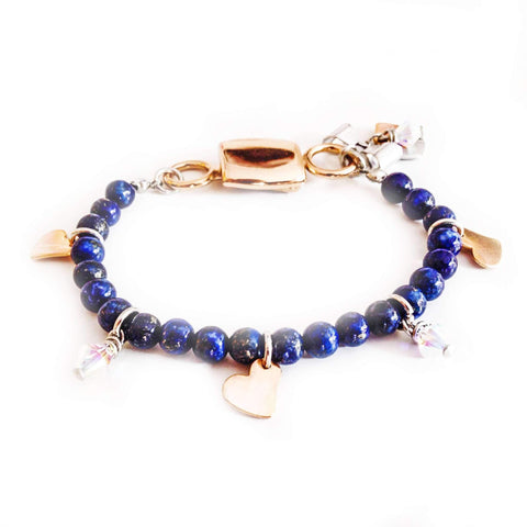 Lapis lazuli gem stone bracelet with rose gold - SKIPPERMYBOAT
