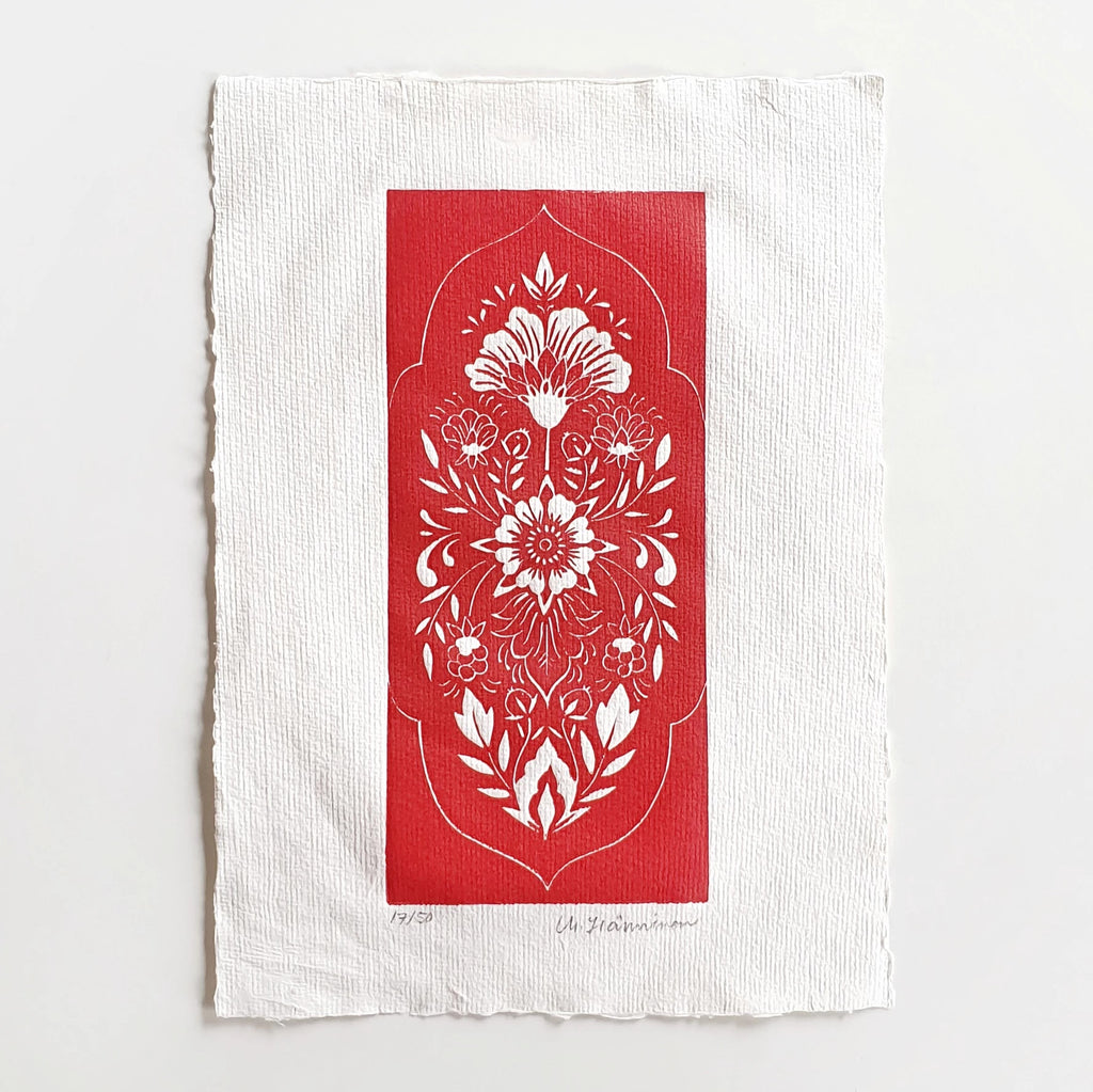 """Folk Floral"" - red (on rag paper)"