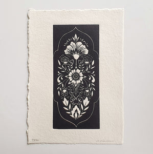 """Folk Floral"" - black on bamboo paper"