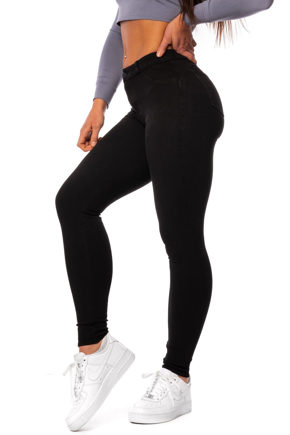 Womens 360 Mid Waisted Fitjeans - Black