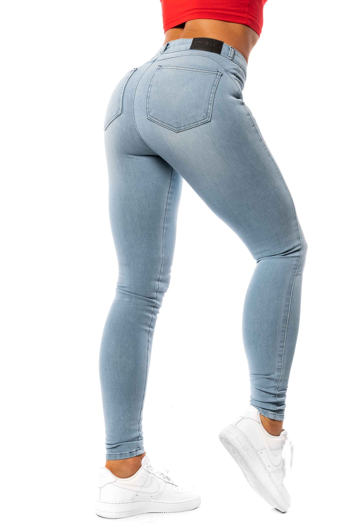 Womens 360 Mid Waisted Fitjeans - Bleach Blue
