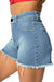 Womens Denim High Waisted Shorts - Azure Blue