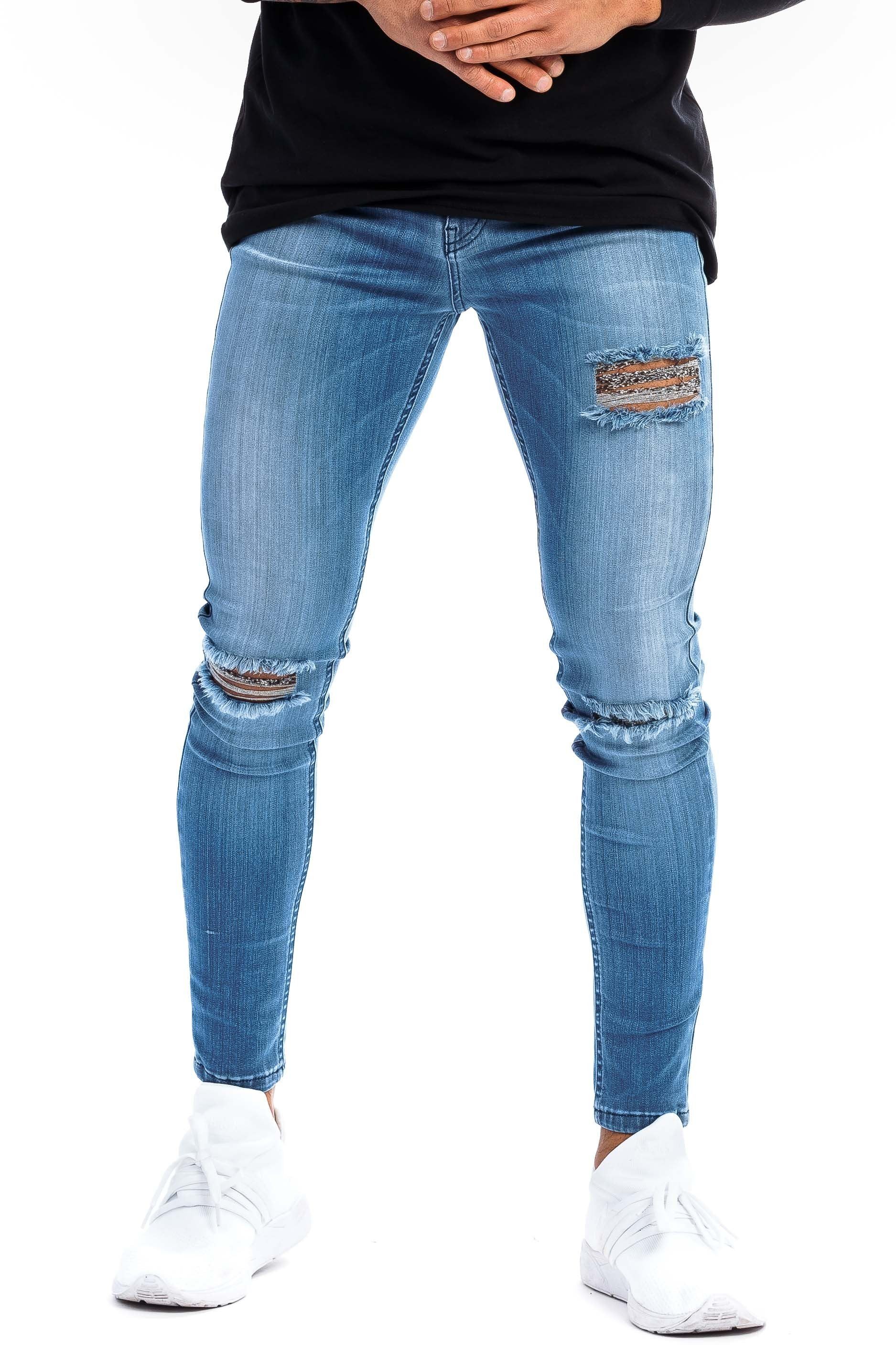 Mens Regular Ripped Fitjeans - Arctic Light Blue - Fitjeans Norge