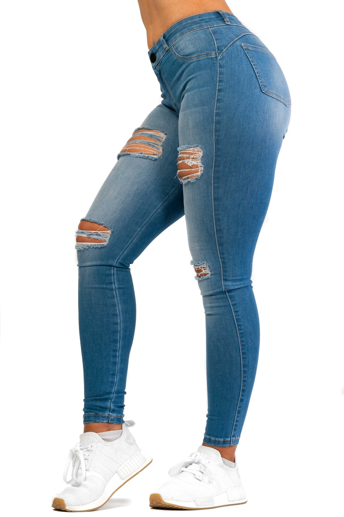 Womens Regular 4 Hole Ripped Mid Waisted Fitjeans - Arctic Light Blue