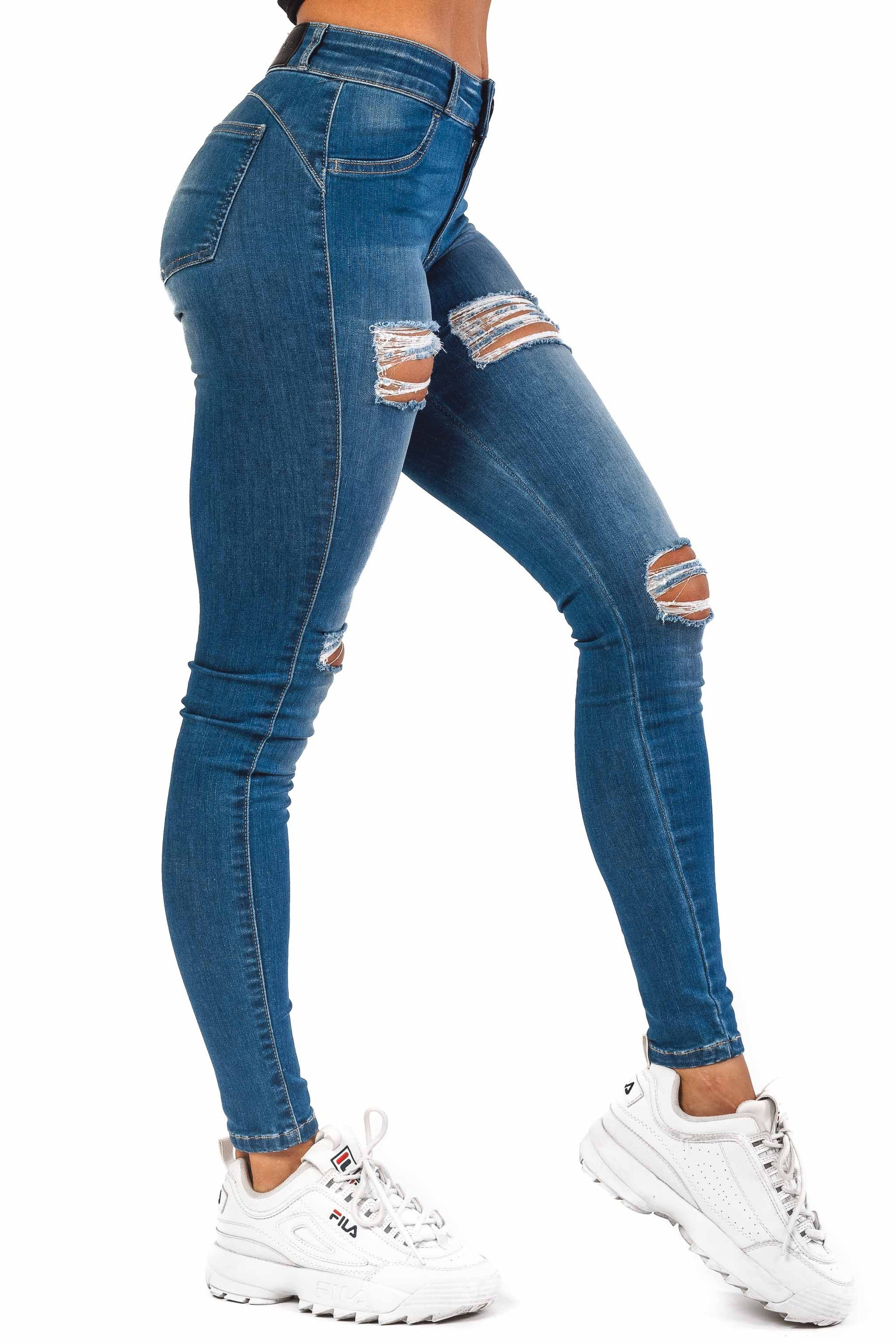 Womens Regular 4 Hole Ripped Mid Waisted Fitjeans - Azure Blue