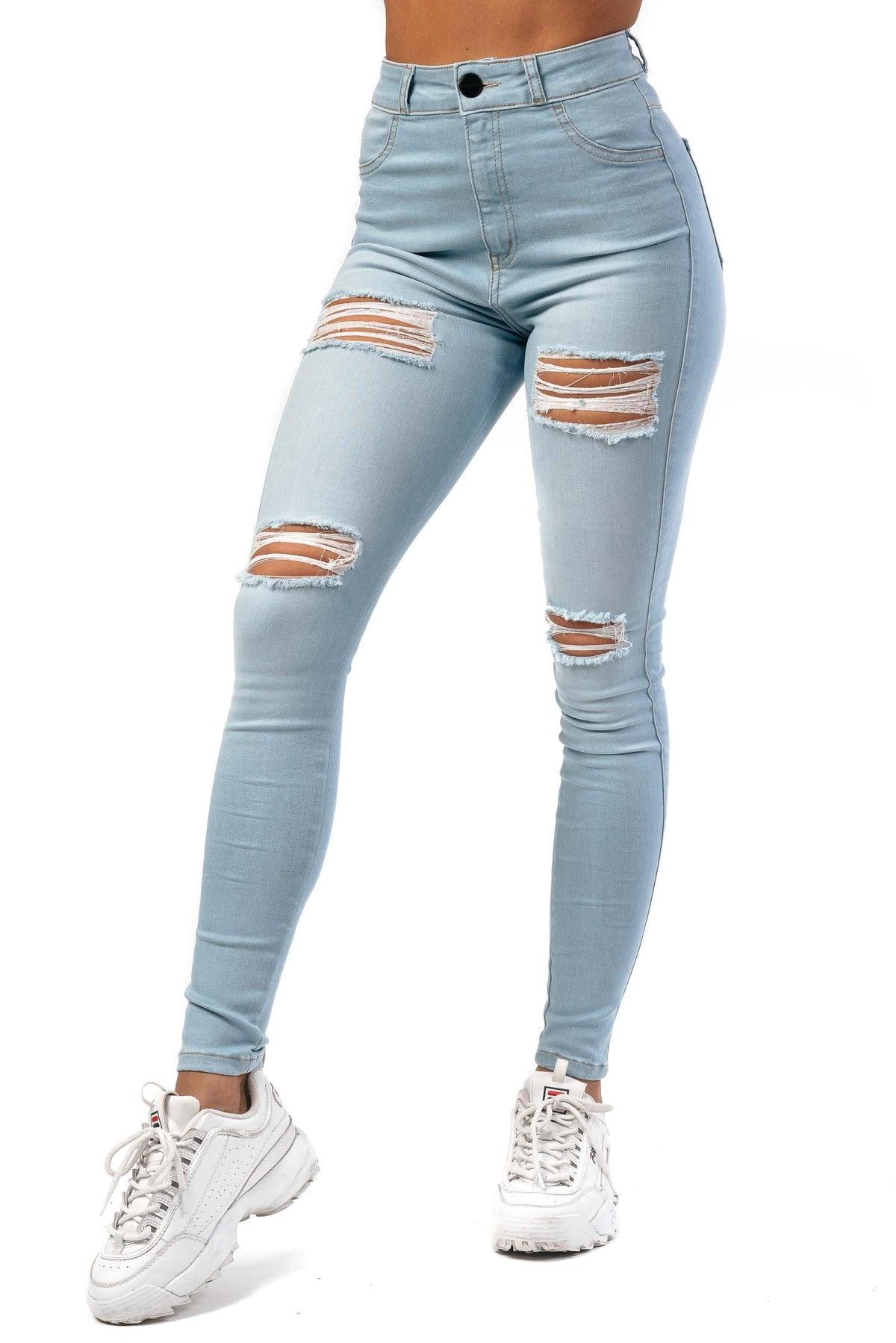 Womens Regular 4 Hole Ripped High Waisted Fitjeans - Vintage Blue