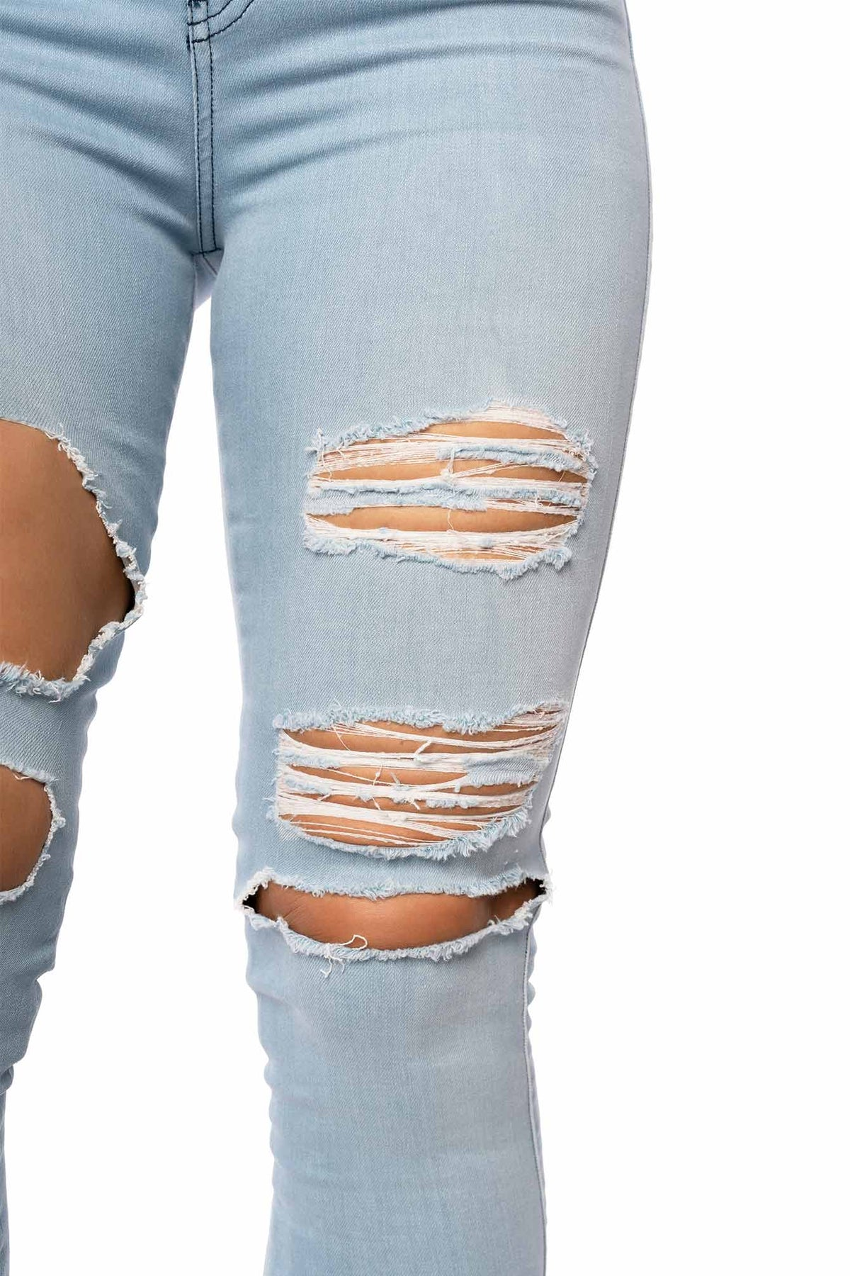 Womens Regular Super Ripped High Waisted Fitjeans - Bleach Blue
