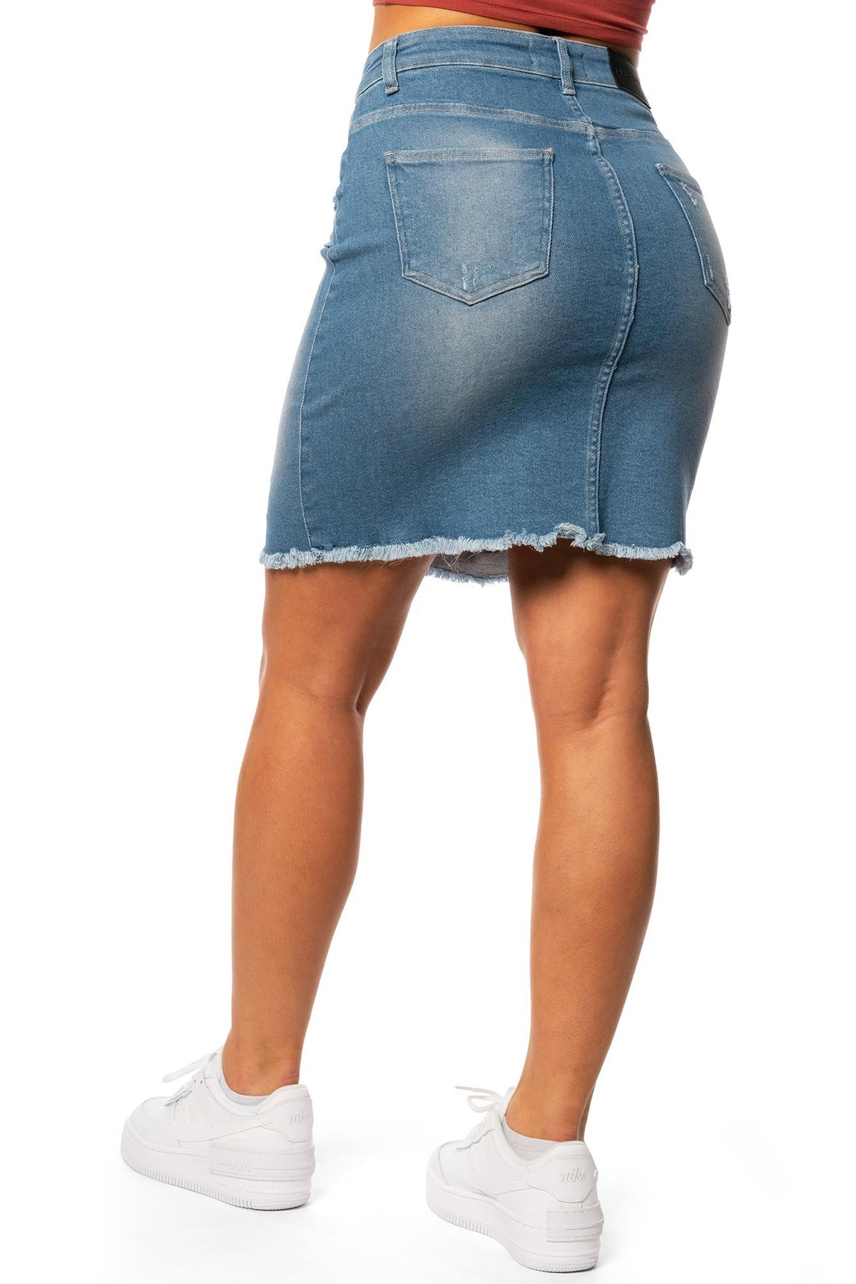 Womens Denim Ripped High Waisted Skirt - Azure Blue