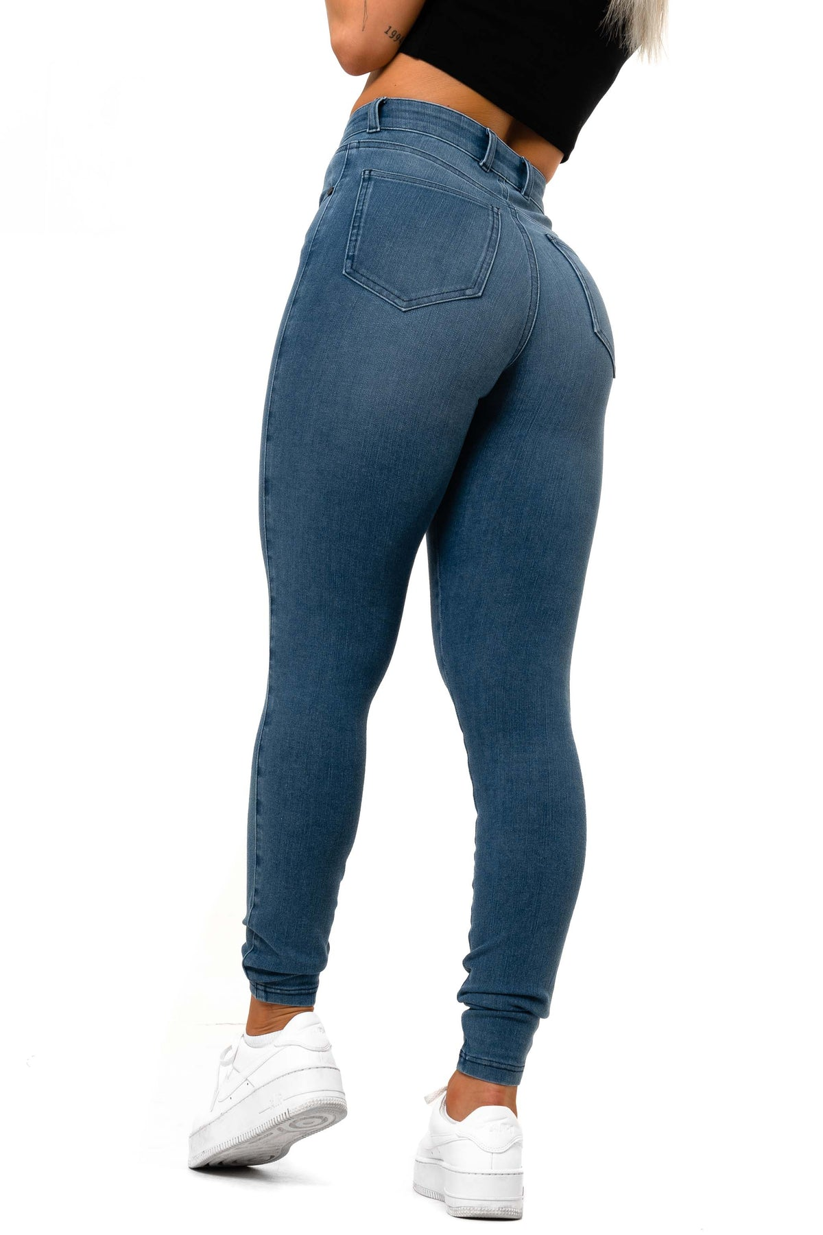 Womens Vital High Waisted Fitjeans - Azure Blue