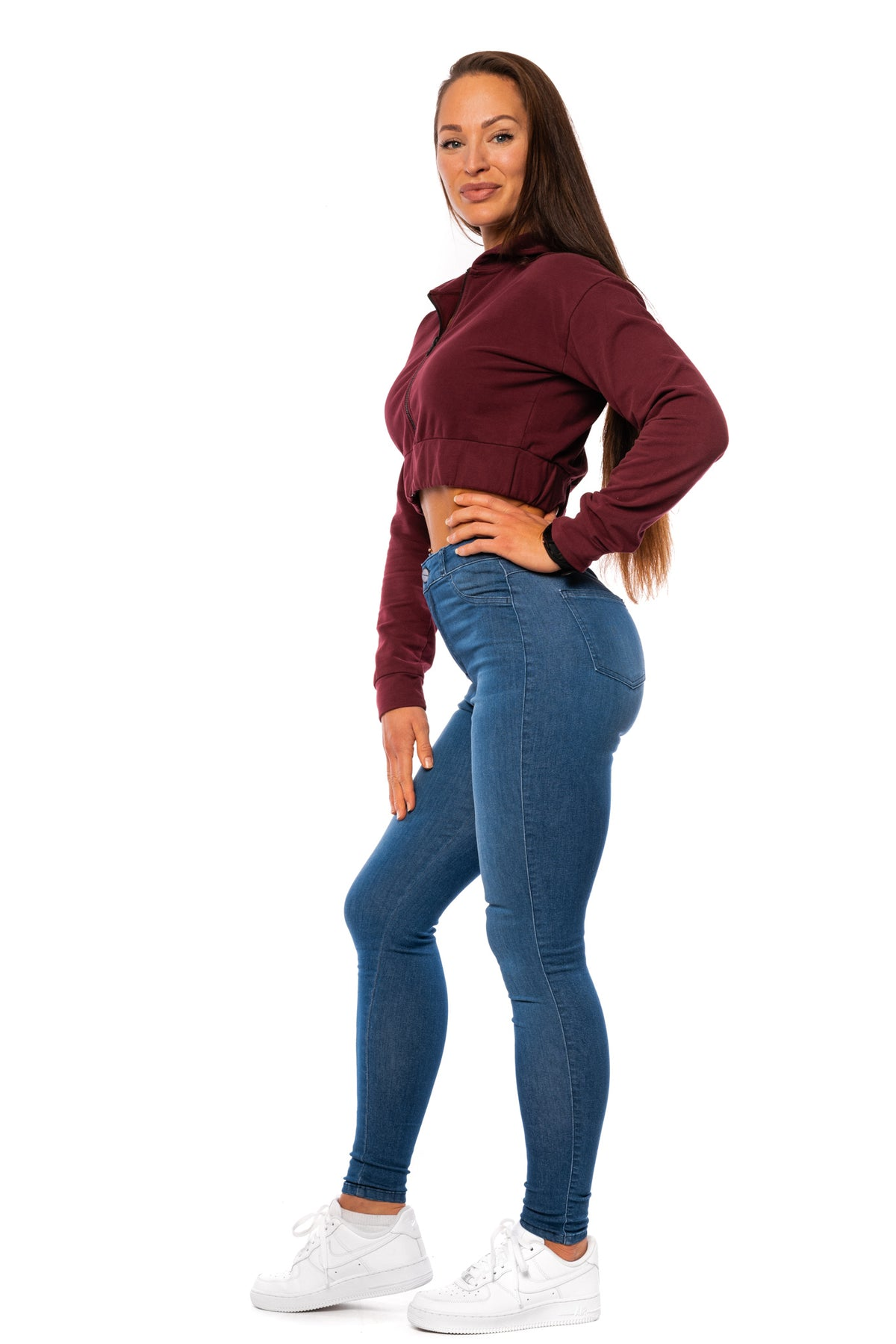 Womens Contour High Waisted Fitjeans - Azure Blue Marl