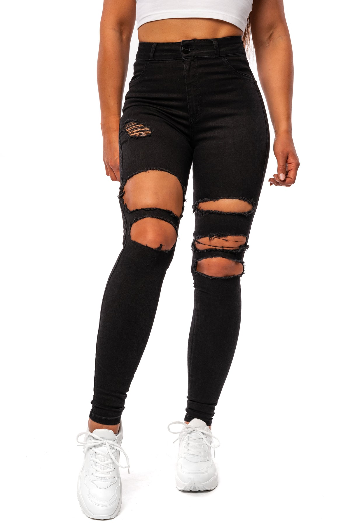 Womens Regular Super Ripped High Waisted Fitjeans - Black