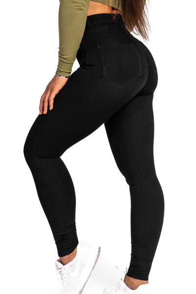Womens High Waisted 360 Fitjeans - Black