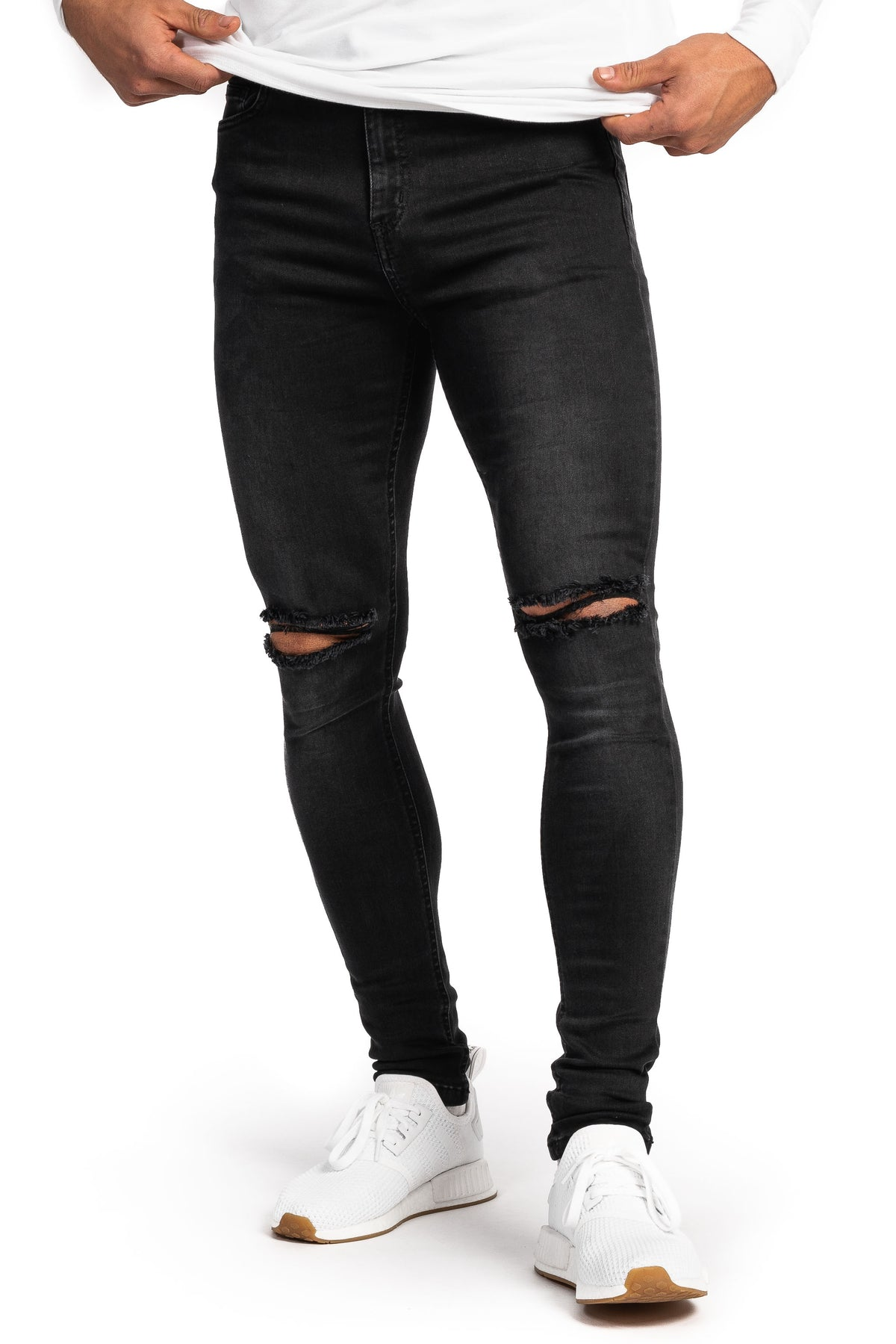 Mens Regular Ripped Fitjeans - Grey Shade - Fitjeans Norge