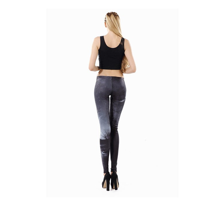 Gray Sky Printed Women leggings