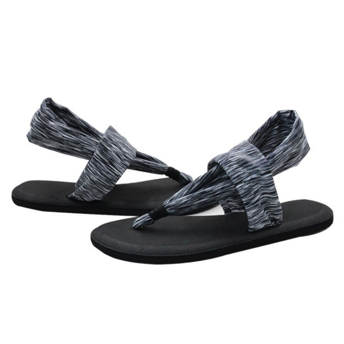 Yoga Mat Sole Sling Back Gray Stripes Sandals