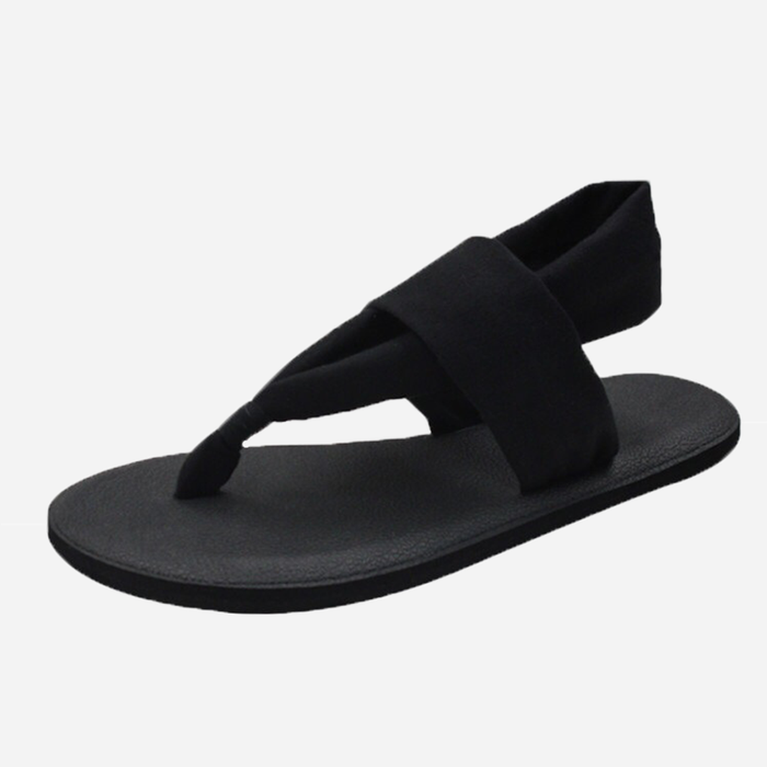 Yoga Mat Sole Sling Back Black Sandals
