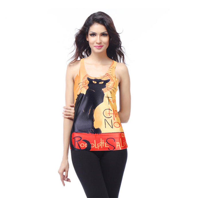 Black Cat Printed Women's Racerback Tank