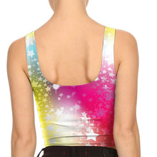 Colorful Starry Night Print Crop Top