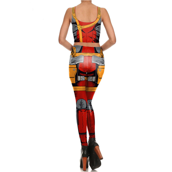 3D Printed Deadpool Leggings & Crop Top Comic Set