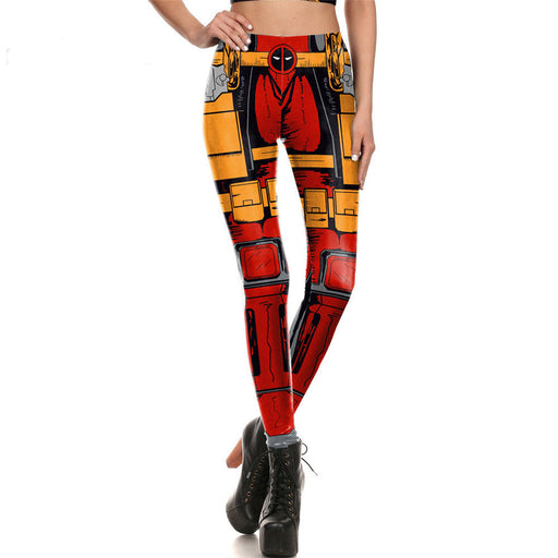 Super Hero Deadpool Printed Red/Yellow Women Leggings