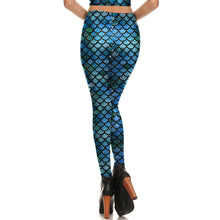 Blue Scale Mermaid Printed Women leggings