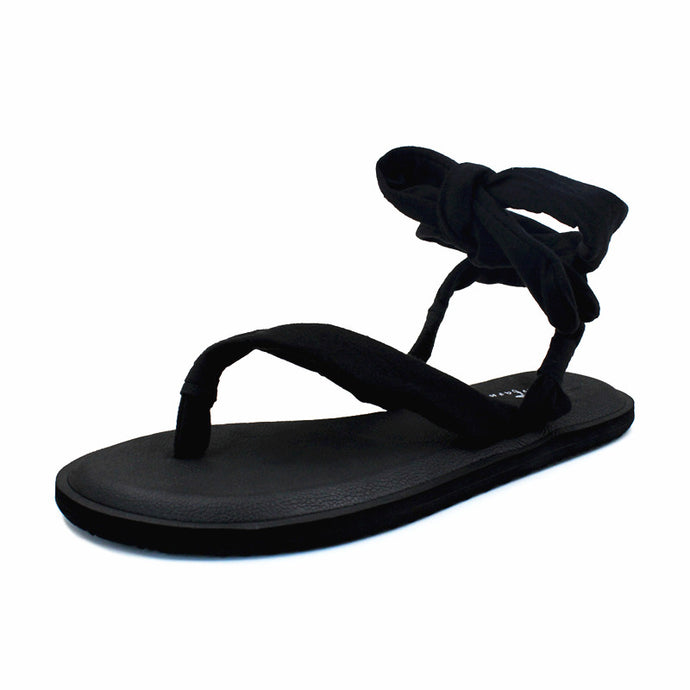 Yoga Mat Sole Sling Back Black Upper Gladiator Sandals