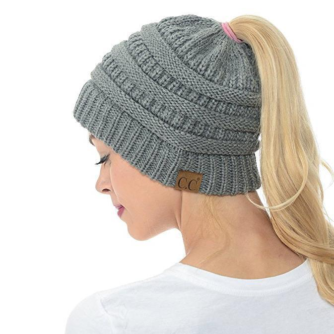 Ponytail Beanie Cap For Women