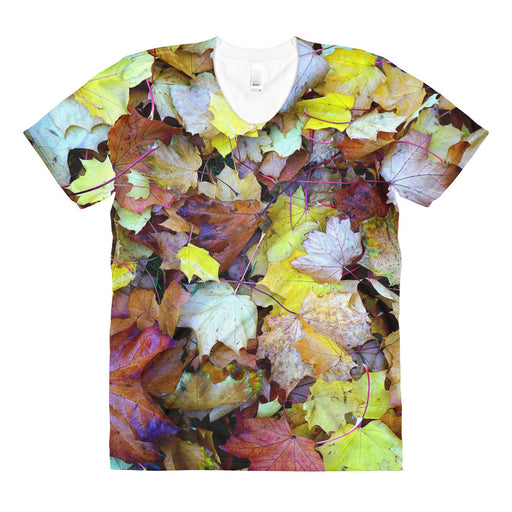 Maple Leaves Sublimation Women's Crew Neck T-shirt