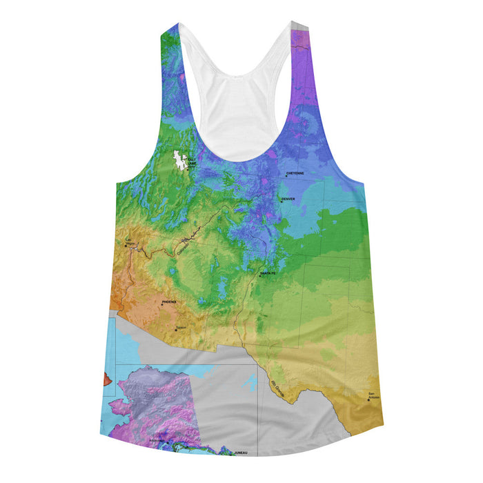 US Map Artwork Printed Women's Racerback Tank