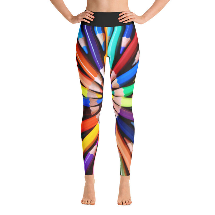 Colored Pencil Artwork Printed Yoga Leggings