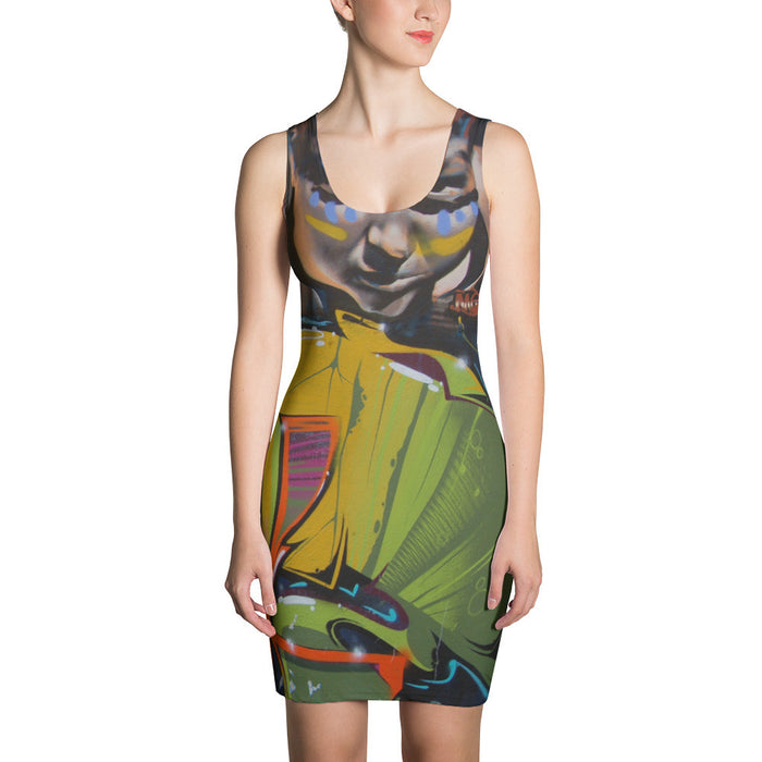 Colorful Graffiti Artwork Printed Sublimation Cut & Sew Dress
