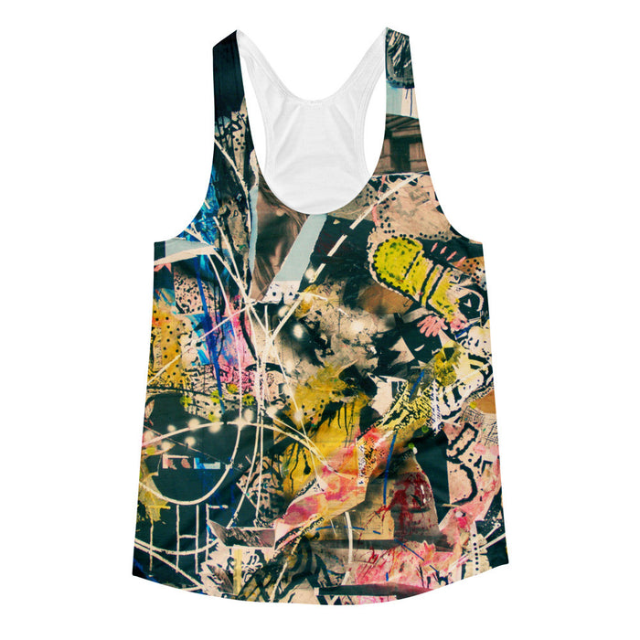 Graffiti Fusion Artwork Printed Women's Racerback Tank