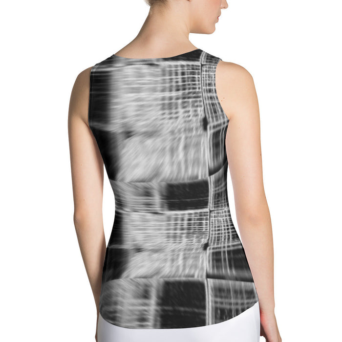 Blurred Check Printed Sublimation Cut & Sew Tank Top