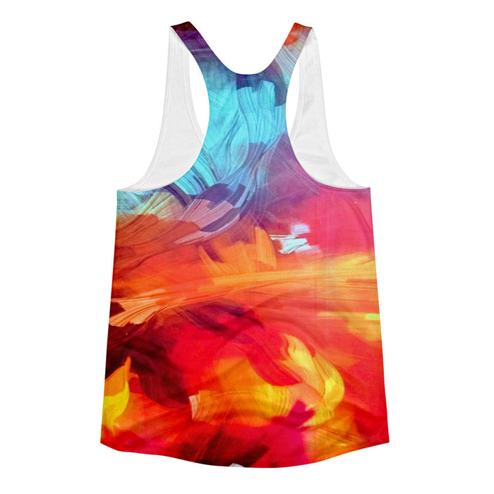 Canvas Paint Artwork Printed Women's Racerback Tank