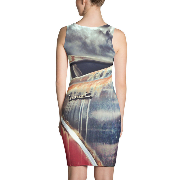 Retro Car Artwork Printed Sublimation Cut & Sew Dress