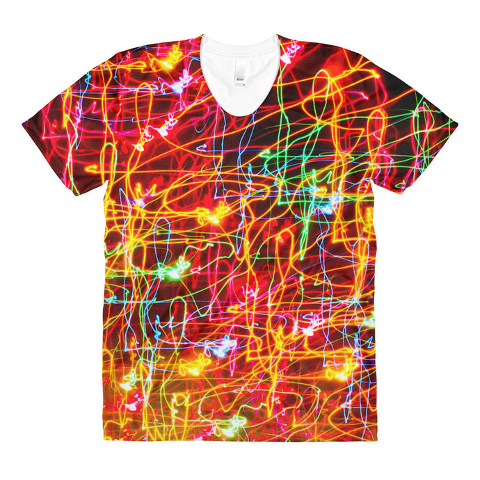 Light Artwork Creative Sublimation Women's Crew Neck T-shirt