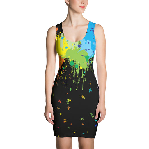 Colorful Paint Splash Artwork Printed Sublimation Cut & Sew Dress