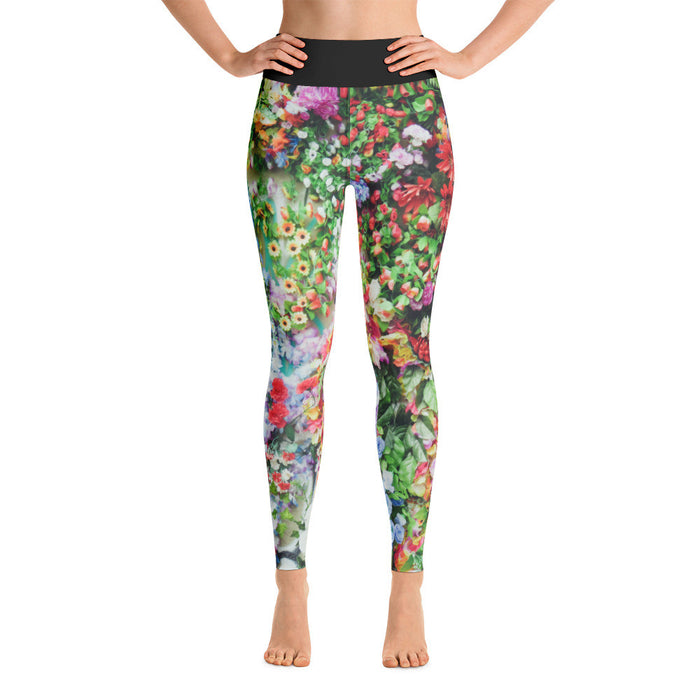 Flower Bed Artwork Printed Yoga Leggings