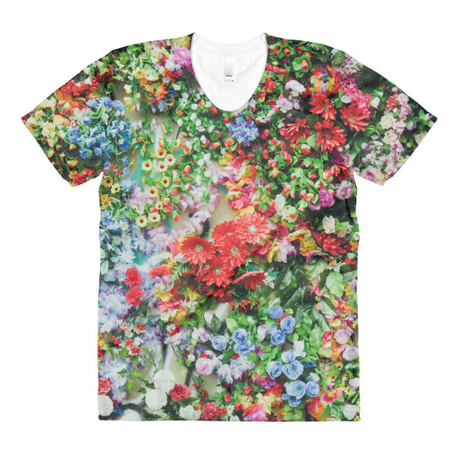 Floral Artwork Sublimation Women's Crew Neck T-shirt