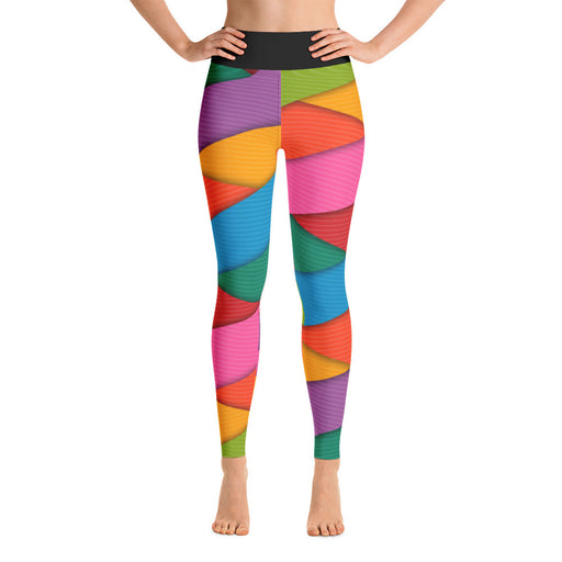 Colored Stripe Mesh Printed Yoga Leggings