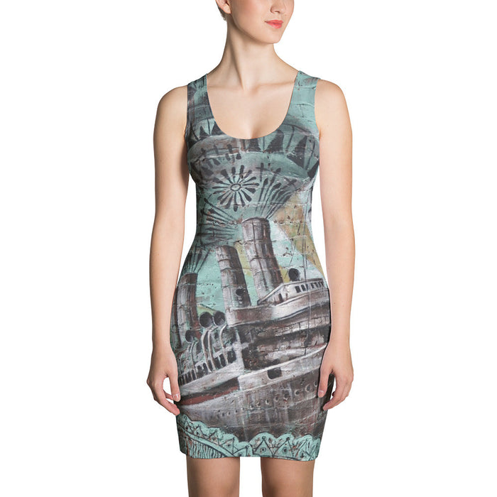 Old Ship On the Wall Printed Sublimation Cut & Sew Dress