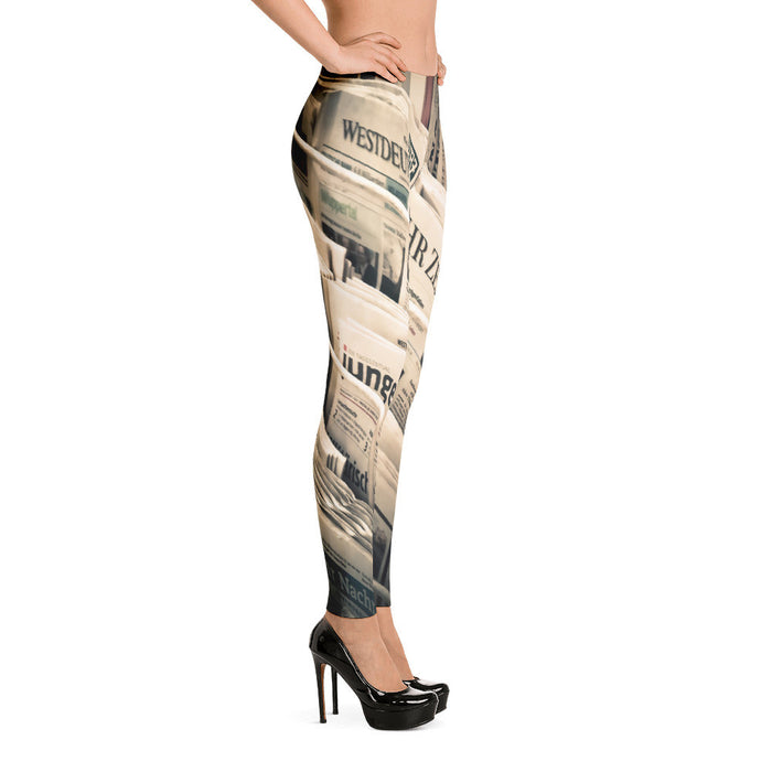 Newspaper Artwork Printed Women Leggings