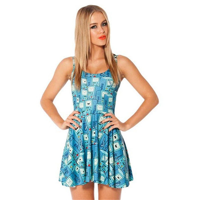Adventure Time BMO Print Pleated Skater Dress